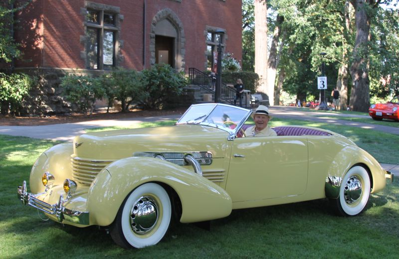 PAMPLIN MEDIA GROUP PHOTO: JOHN SCHRAG - Norman Noakes of Lake Oswego was all smiles after winning the Best In Show award at the 2017 Forest Grove Concours d'Elegance Sunday, July 16, for his 1937 Cord Super Charged 812.