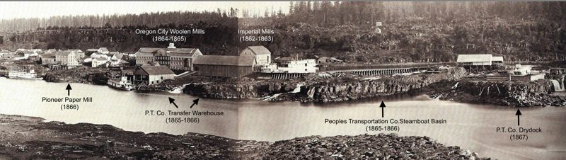 The Lowell of the Pacific: This composite of two 1867 Carleton Watkins photos shows the Pioneer Paper Mill, left, shortly after it closed, near the other Civil-War-era industrial developments at Willamette Falls: the Woolen Mills, the Imperial Mills, and the Basin and Works of the Peoples Transportation Company.