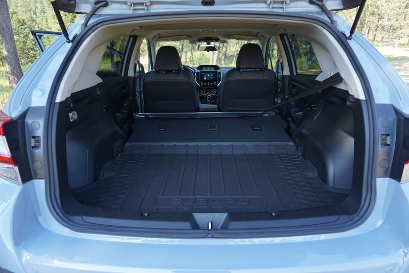 PORTLAND TRIBUNE: JEFF ZURSCHMEIDE - The 2018 Subaru Crosstrek has ample cargo space under the rear hatch, especially with the rear seat folded down.