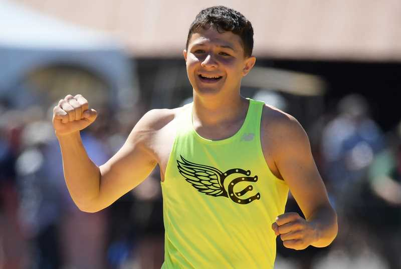 LON AUSTIN/CENTRAL OREGONIAN - Neil Chaney celebrates after winning the state pole vault championship earlier this year. Chaney plans to attend South Dakota School of Mining and Technology next fall where he will major in mechanical engineering.