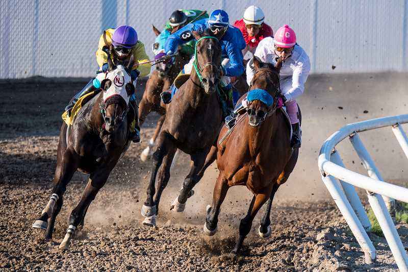 ALL PHOTOS BY LON AUSTIN/CENTRAL OREGONIAN - Horses come off the final turn and head into the homestretch during Friday night racing at the Crooked River Roundup Race Meet.
