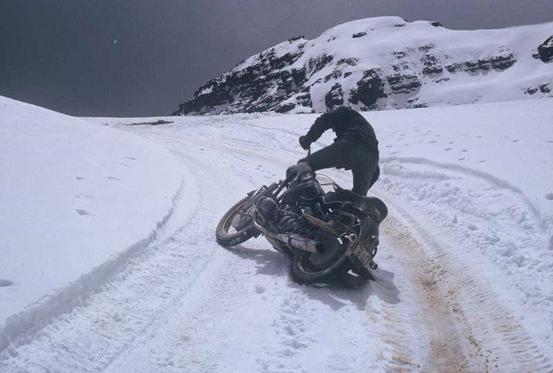 SUBMITTED PHOTO - Variations in weather, including snowy slopes and flooded roads, created some harrowing riding conditions for Keith Thye and David Yaden during their 1963 trek through Central and South America.