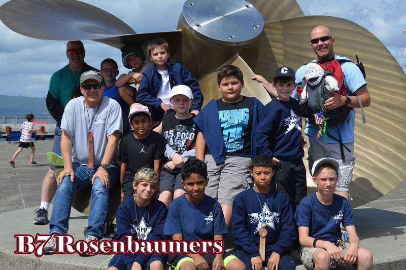 PHOTOS COURTESY OF CAMP ROSENBAUM - Beaverton Police Public Information Officer Mike Rowe (camp name: Yeti) (back row, right) poses with his campers and co-counselors during a field trip to the Maritime Museum.