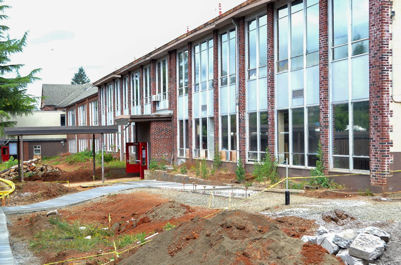 POST PHOTO: BRITTANY ALLEN - Construction at the old high school began earlier this year and is projected to be completed by Sept. 5, for the first day of school.