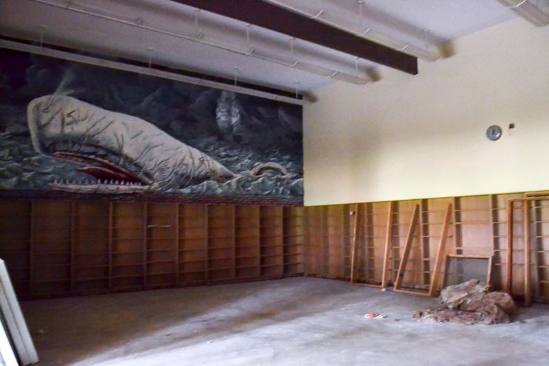 POST PHOTO: BRITTANY ALLEN - The library, near the new main entrance, still showcases the well-known mural of Moby Dick by Sandy alumnus Roman Scott.
