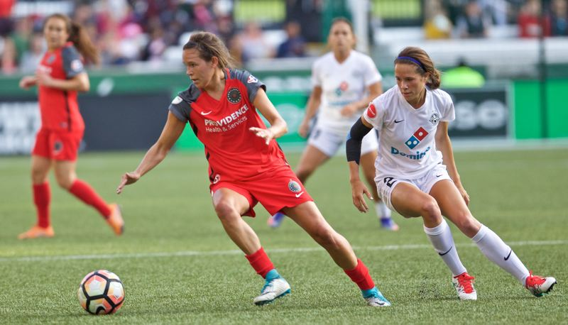 COURTESY: CRAIG MITCHELLDYER/PORTLAND THORNS - Emily Menges is writing a book about the lives of 20 imaginary characters while she enjoys life in Portland and as a top defender for the Thorns.