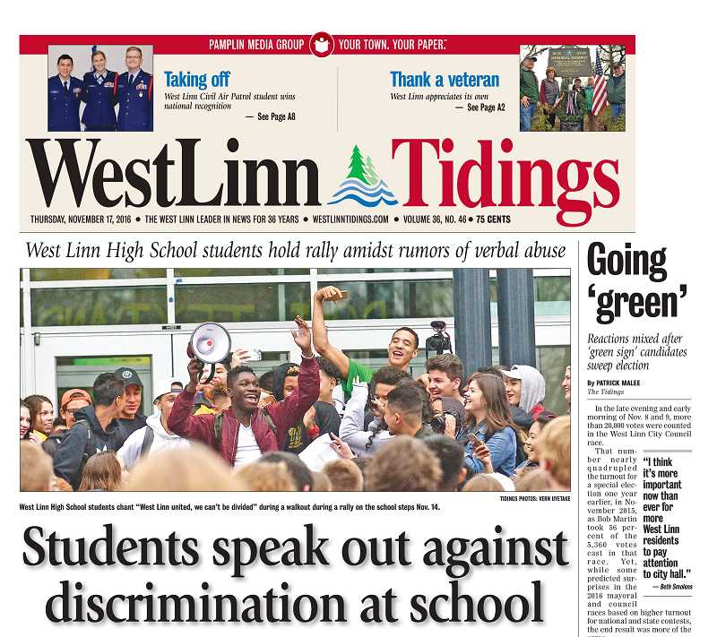 Longtime Tidings photographer Vern Uyetake was awarded first place in News Photography for this image of local high school students holding a rally on the school steps.