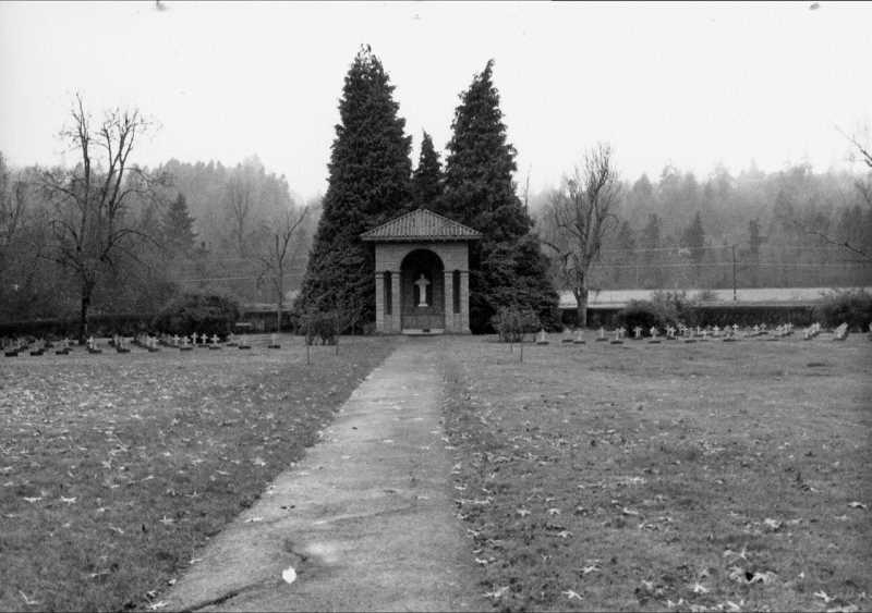 SUBMITTED PHOTO: OSWEGO HERITAGE COUNCIL - A Marylhurst altar and cemetery stand on what was part of the Walling family's donation land claim in a photo taken sometime after 1937.