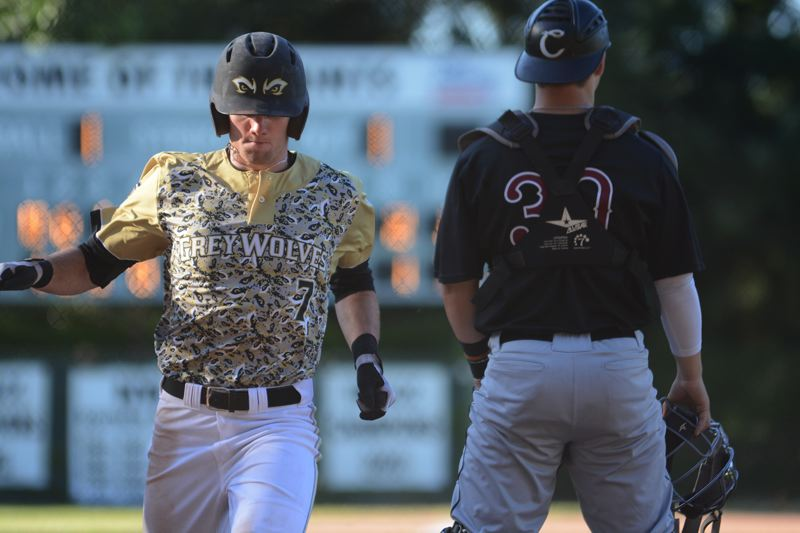 OUTLOOK PHOTO: DAVID BALL - Greshams Aaron Simpson was one of five GreyWolves that crossed home plate twice during Wednesdays 11-7 win in Bend.