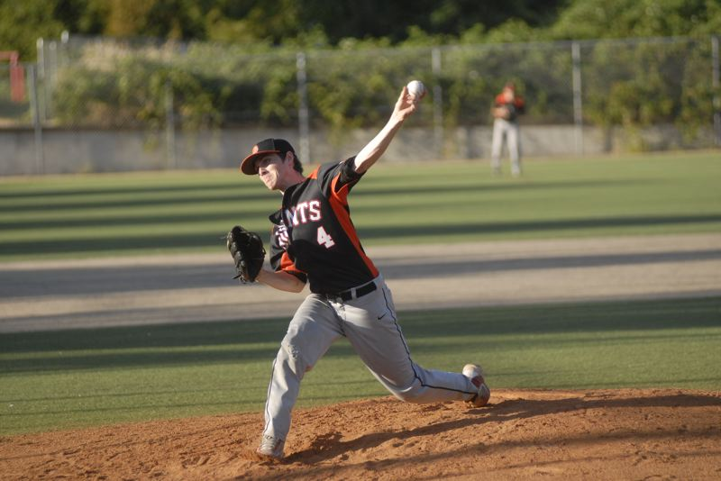 SANDY POST: MATT RAWLINGS - Sandy pitcher Kyle Hudson throws a fastball to the plate in the Pioneers 12-2 loss to Clackamas.