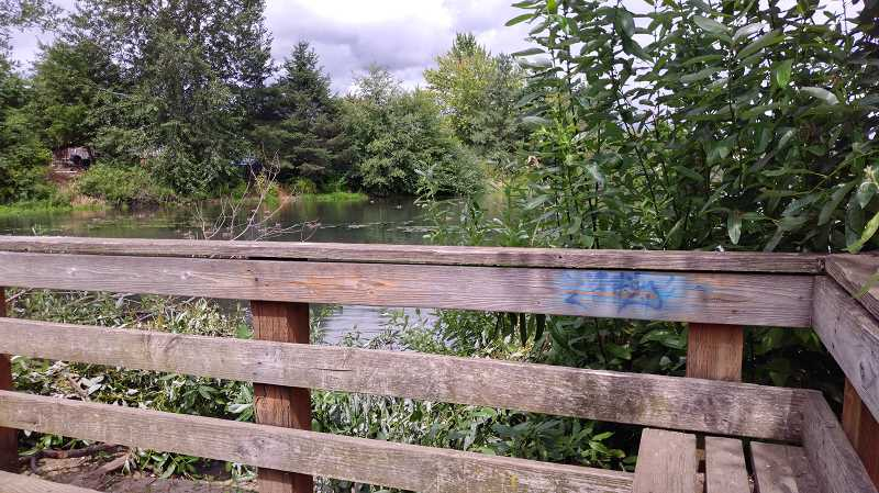 NEWS-TIMES PHOTOS: STEPHANIE HAUGEN - Graffiti on the bird lookout area stands out.