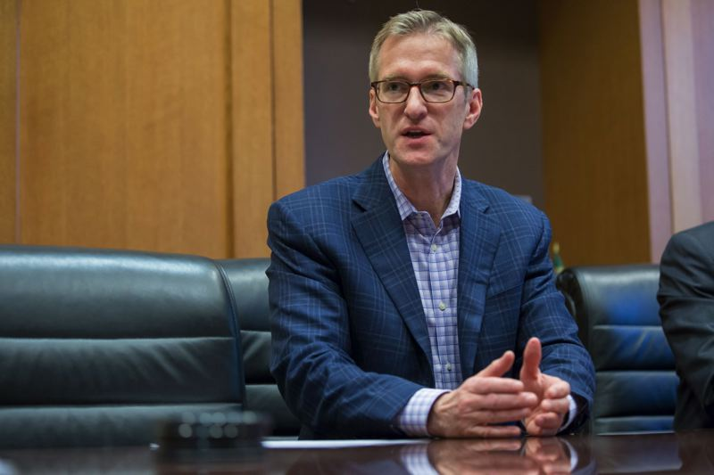 TRIBUNE FILE PHOTO - Mayor Ted Wheeler at a meeting in Portland's City Hall.