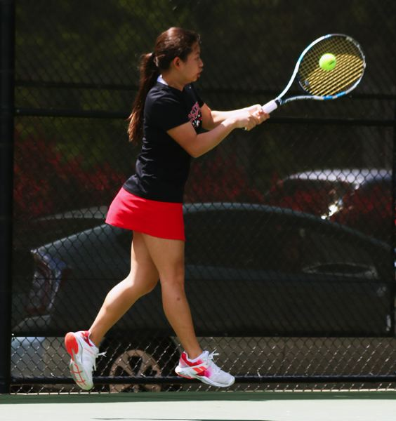 SUBMITTED PHOTO - Rachael Hahn, a 2017 Westside Christian High School graduate, hits a shot during girls singles play at the Class 4A/3A/2A/1A state tournament. Hahn won the Eagles' first ever state tennis title.