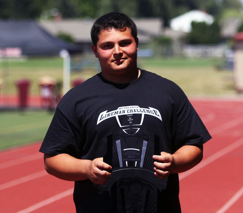 DAN BROOD - Ryan Mitton, a Tualatin High School senior-to-be, was named the heavyweight division MVP at the Metro Area Lineman Challenge.