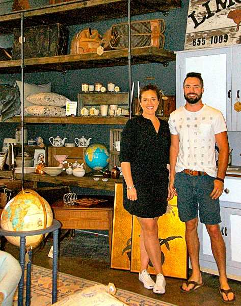 RITA A. LEONARD - Co-owners Heather Morrill and Zach Bruce, in their eclectic home furnishings store 3 Dots & a Dash - now open seven days a week at S.E. 13th and Spokane in Sellwood.
