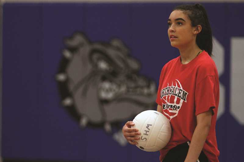 PHIL HAWKINS - Woodburn senior Devanee Ott-Parker is one of five volleyball players returning to the Bulldogs with varsity experience entering head coach Doyle Tracy's third year at the helm of the high school program.