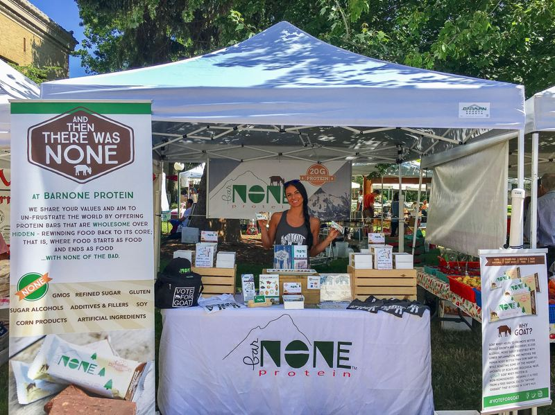 CONTRIBUTED PHOTO - Corrine Konell sells her barNONE goat whey-based protein bars at the South Waterfront, Oregon Health & Science University and Nike World Headquarters farmers markets in Portland, the Bridgeport Farmers Market in Tigard, and both the Happy Valley and West Linn markets.