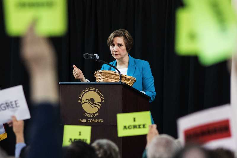 HILLSBORO TRIBUNE FILE PHOTO - Congresswoman Suzanne Bonamici holds a town hall at the Hillsboro Fair Complex in March.