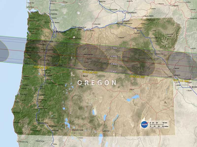 PHOTO COURTESY OF NASA - This NASA map shows the projected path across Oregon of the Aug. 21 total solar eclipse.