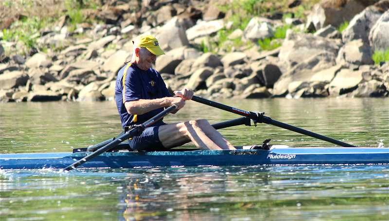 REVIEW PHOTO: SAM STITES - Roger Stevens practices three days per week, sometimes twice per day, rowing in excess of 12,000 meters. He recently competed at the Northwest Masters Rowing Championship regional at Vancouver Lake.