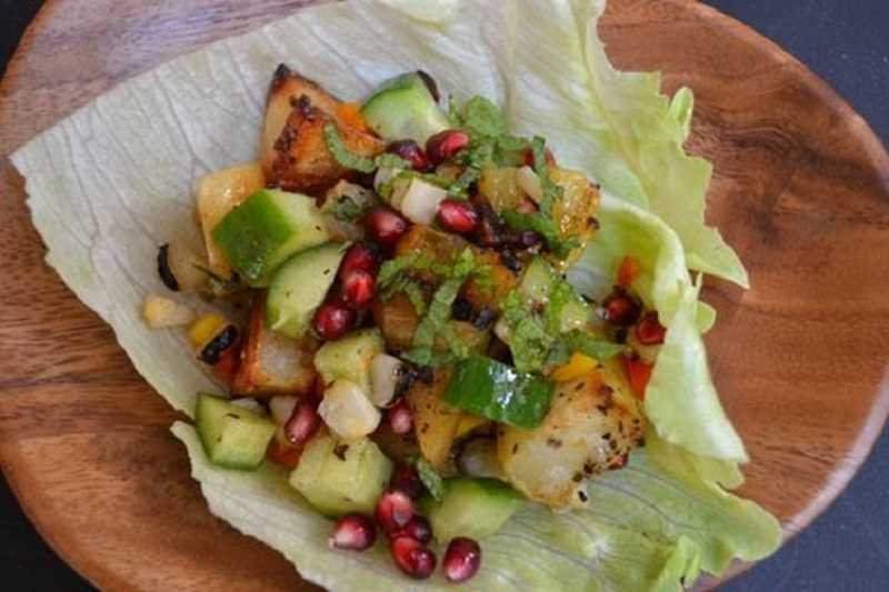 Grilled Summer Salad with a citrus and pomegranate molasses dressing would be a welcome meal on a hot summer night. Preparation is quick, and the salad is delicious.