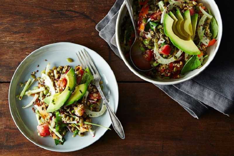 French Lentil, Kamut and Avocado Salad is another cool dinner. It gets protein from lentils and kamut, which is a type of grain often called Khorasan wheat, and Khorasan refers to a historical region in the Middle East. You can substitute wheat berries for the kamut.