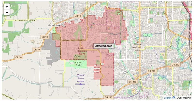The boil-water alert area.
