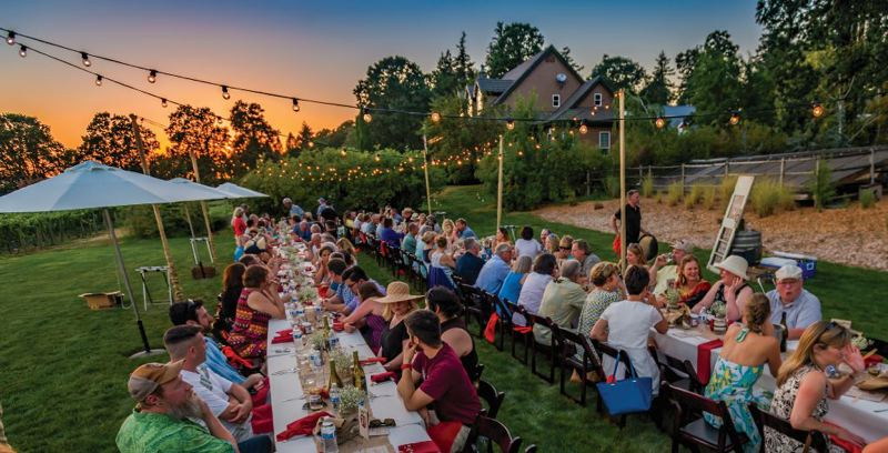 COURTESY PHOTO - Last year's Hillsboro Chamber Farm Fresh Dinner was held at Heritage Farms. This year's is at Denfeld Packing, Inc., amongst the hazelnut trees.