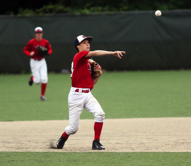 DAN BROOD - Tigard Twins second baseman Cameron O'Connor makes a throw to first during the win over David Douglas.