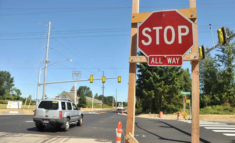 SPOKESMAN PHOTO: VERN UYETAKE - The new improvements to the Boeckman Road intersection, which should be finshed within the next two weeks.