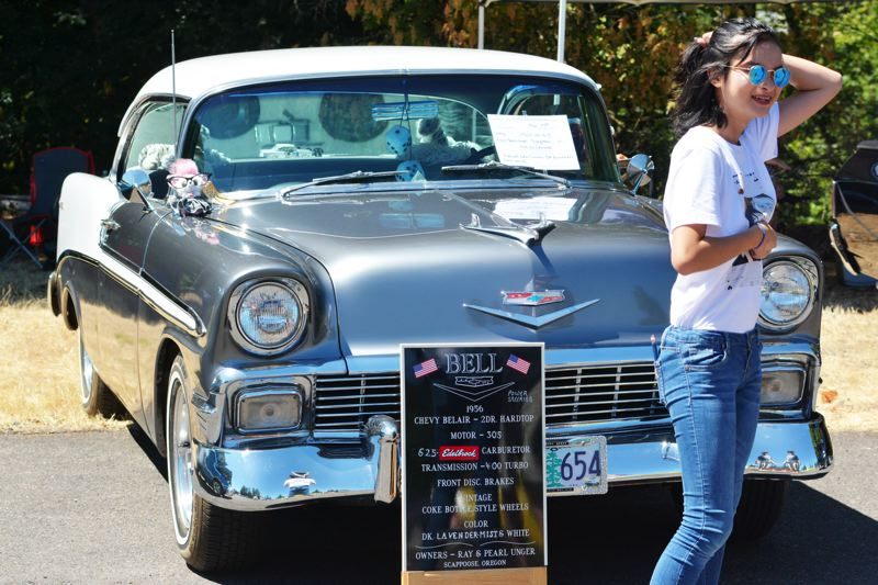 SPOTLIGHT PHOTO: JAKE MCNEAL - St. Helens Elks Post 1999 welcomed classic cars, like this 1956 Chevrolet Bel Air, and vintage aficionados to its 10th Cruise-In on Saturday, July 29.