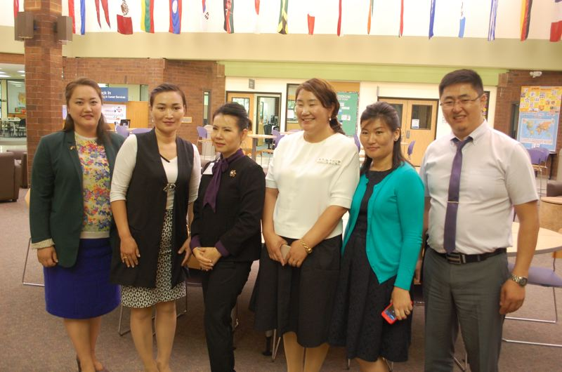 PHOTO BY: RAYMOND RENDLEMAN - From left, Nomintsetseg Munkhbayar, who works for the U.S. Embassy in Mongolia, facilitates the visit of a group of judges, including Sarangerei Dorj, Oyunbileg Tserenpagam, Enkhzaya Khongor and Bataa Bayaraa.