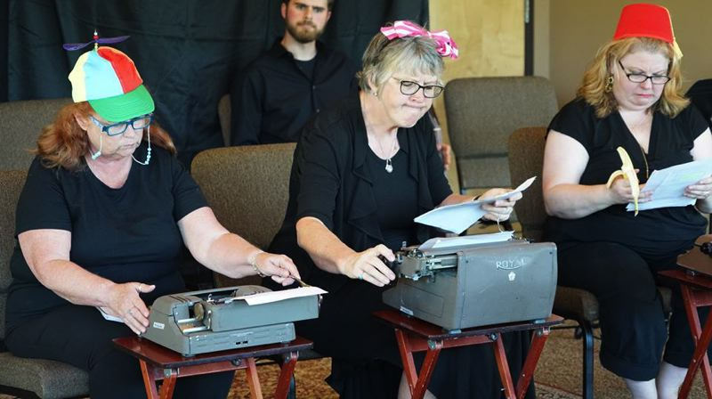 SUBMITTED PHOTO - From left, Linda McBroom, Suzanne Chimenti and Angela Michtom, as Milton, Swift and Kafka respectively, portray three monkeys in 'Words, Words, Words,' one of the plays in Short Attention Span Theater.