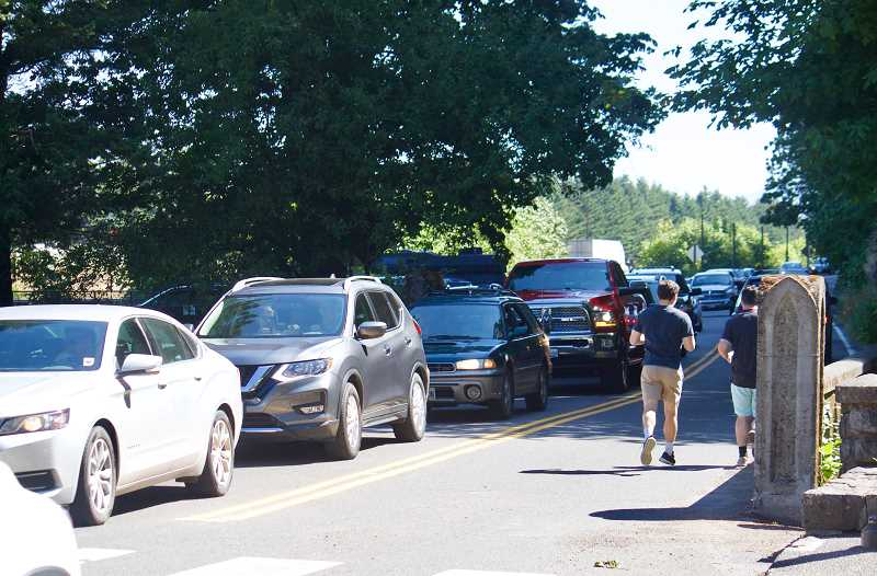 OUTLOOK PHOTO: CHRISTOPHER KEIZUR - Traffic in the Gorge is worst along the Historic Columbia River Highway, as drivers often will stop and wait for a spot to open in the parking lot, blocking drivers behind them.