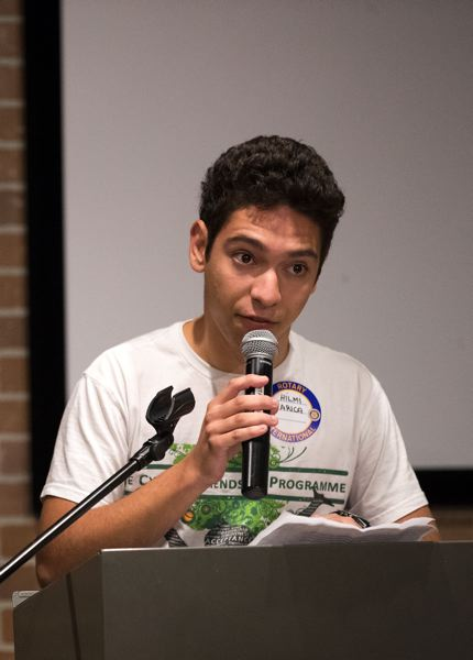 TIMES PHOTO: JAIME VALDEZ - Hilmi Arica, a Turkish-speaking Cypriot teenager, talks to the Rotary Club of Tigard about his dreams for peace in his home country.