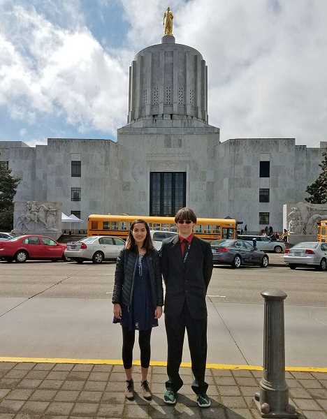SUBMITTED PHOTO: COURTESY OF PACSTAR - Laker Zander Work, who graduated from Lake Oswego High this June, went to Salem to support legislation to establish the Oregon Cybersecurity Center of Excellence, which would be run by the state.