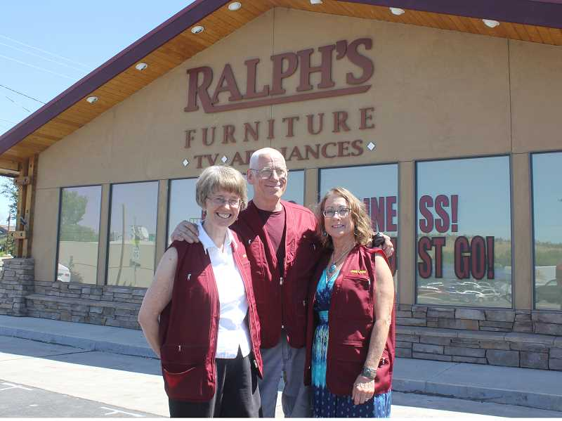 SUSAN MATHENY/MADRAS PIONEER - Donna and Ed Hagedorn, left, with longtime employee Annie Laurie Cleem, are ready to help customers during the going out of business sale.