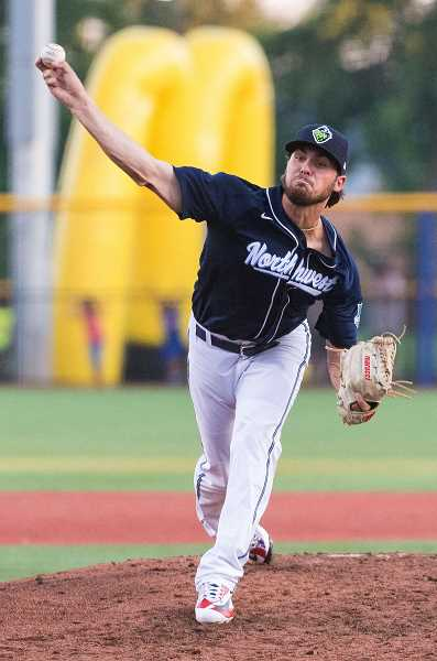 HILLSBORO TRIBUNE PHOTO: CHRISTOPHER OERTELL - Northwest League all-star and Hillsboro Hops pitcher Riley Smith pitches during the 2017 All Star Game at Ron Tonkin Field in Hillsboro, Oregon.
