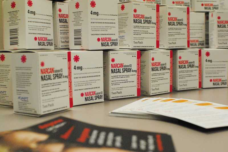 HILLSBORO TRIBUNE PHOTO: JOHN WILLIAM HOWARD - Naloxone kits come in small boxes and contain four ounces of the medication, but can revive an overdose victim quickly.