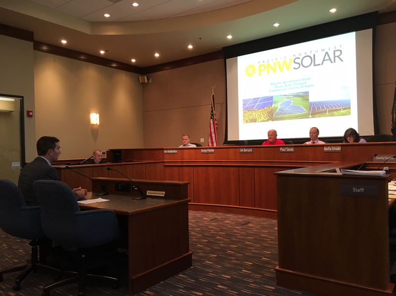 PAMPLIN MEDIA GROUP: PETER WONG - Steve Schmitt speaks on behalf of Pacific Northwest Solar, which won approval from Clackamas County commissioners Wednesday, Aug. 2, for a solar farm on 70 acres near Estacada.