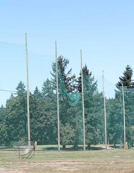 REVIEW PHOTO: ANTHONY MACUK - The netting around the driving range will likely be a top priority in any plan for the municipal golf course. Large portions have been damaged by winter weather, and Parks staff say a full-scale repair would likely mean building a new enclosure from the ground up, using modern materials.