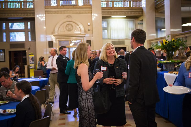 PAMPLIN MEDIA GROUP: ADAM WICKHAM - Guests celebrate the centennial of the U.S. Bank building at the Night at the Main event.