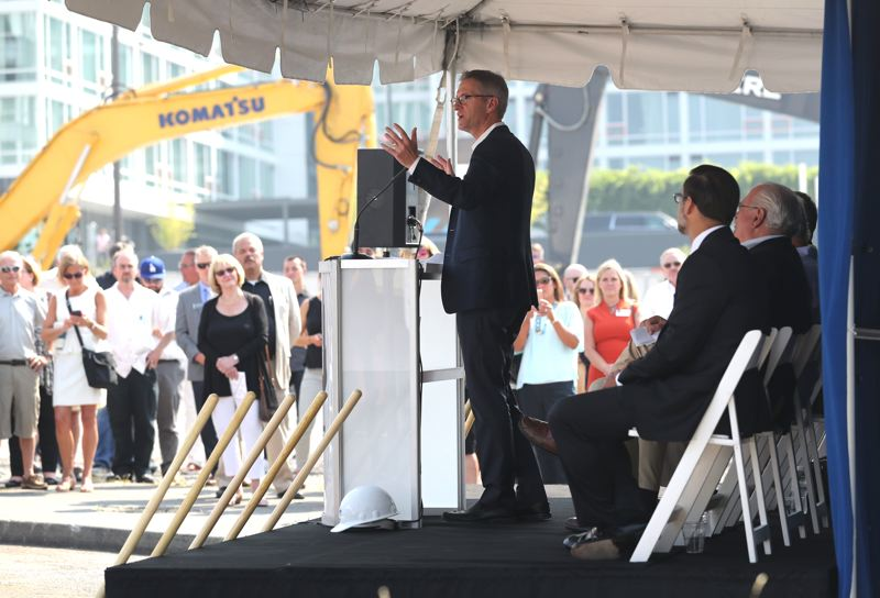 PAMPLIN MEDIA GROUP: JAIME VALDEZ - Portland Mayor Ted Wheeler addresses the crowd at the groundbreaking ceremony on Friday.