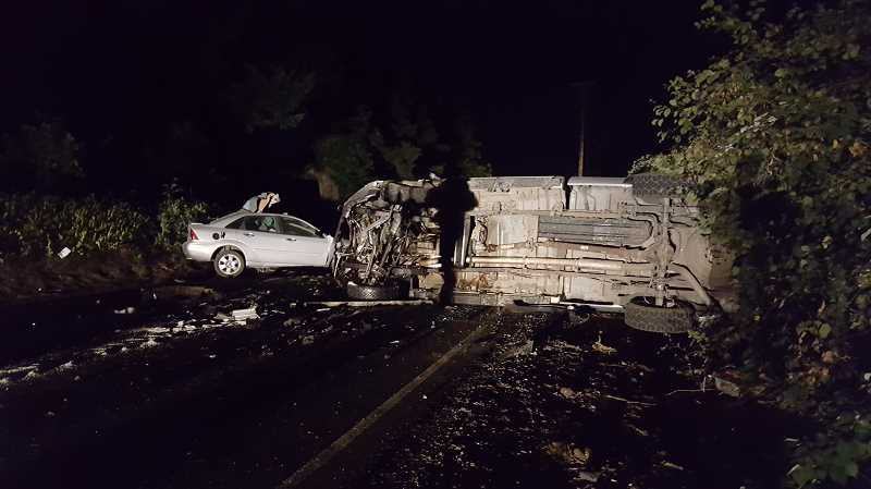 COURTESY PHOTO: OSP - A Woodburn man died after a late-night head-on crash west of Newberg on Friday.