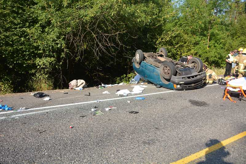 COURTESY PHOTO - The 45-year-old driver of a Chevrolet SUV lost control of his vehicle Aug. 5, and rolled over three times on Highway 26.