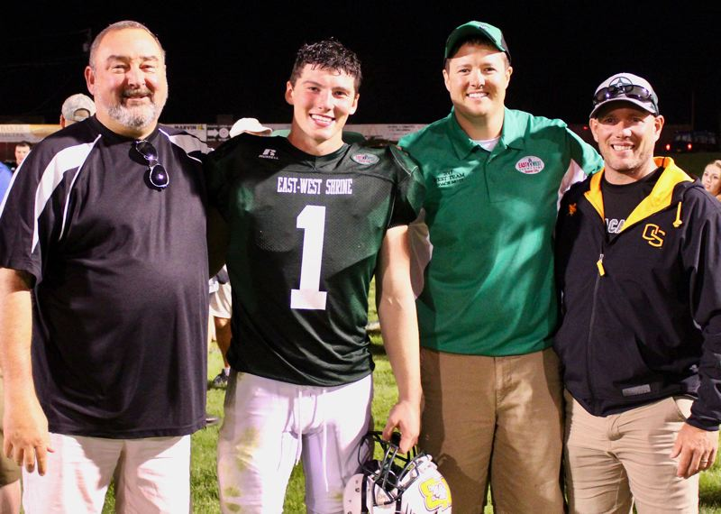 CONTRIBUTED PHOTO - Estacada graduate Doug Kirchhofer and football coach Andy Mott represented the West all-stars during last weekends Shrine Game in Baker City.