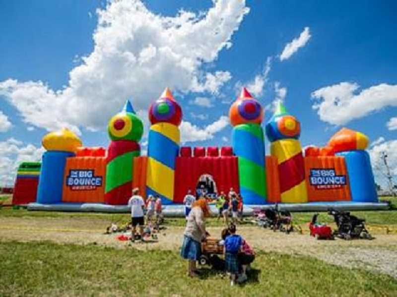 PHOTO COURTESY BIG BOUNCE AMERICA - The bounce house stands at 32-feet-tall and is filled with obstacles for kids to enjoy.