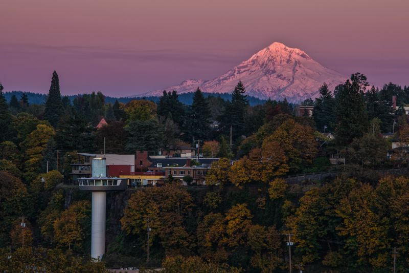 PHOTO BY: JASON FAUCERA - Oregon City's Municipal Elevator and Mount Hood are pictured at sunset in this print that will be available for purchase at the Three Rivers Artist Guild's Festival of the Arts.