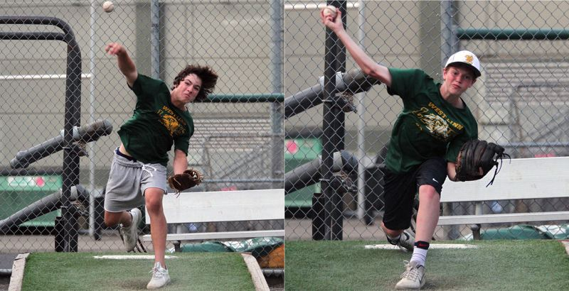 TIDINGS PHOTO: MILES VANCE - Gavin Haines (left) and Adam Simshauser are part of a strong pitching staff led by Kyle Sullivan on the West Linn 14U Babe Ruth team. The team opens play in the World Series on Friday.