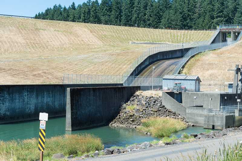 NEWS-TIMES PHOTO: CHRISTOPHER OERTELL - If the plan to raise the height of the dam by 15 feet is approved, this spillway will have to be demolished and a new one put in at the Scoggins Dam in Gaston, Oregon.